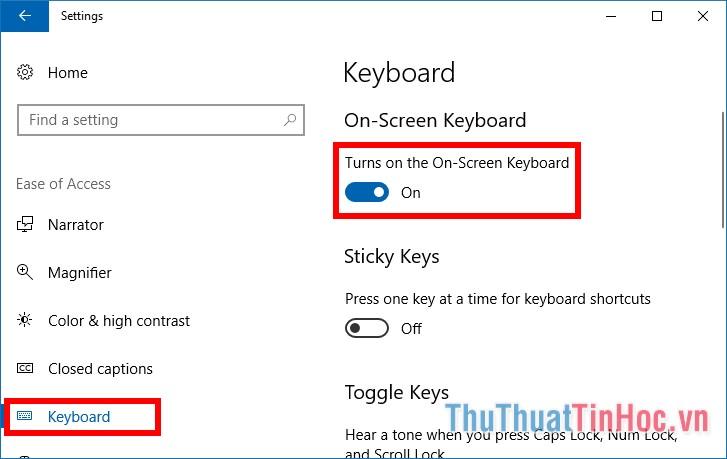 Bật tính năng Turns on the On-Screen Keyboard
