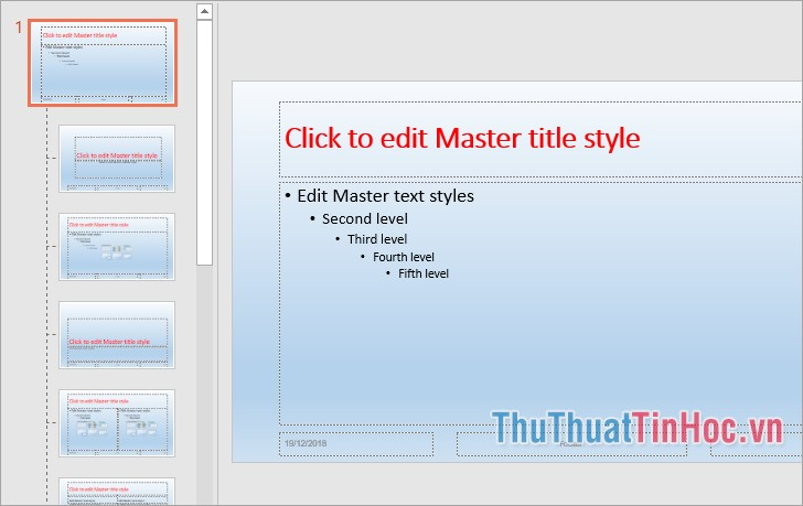 Chọn Slide đầu tiên, sau đó định dạng chung cho toàn bộ slide