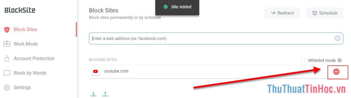 Chọn vào dấu tròn đỏ trừ là web đã được loại khỏi danh sách chặn