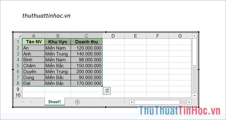 Chuyển sang Word và dán bảng dữ liệu vào trang tính Excel