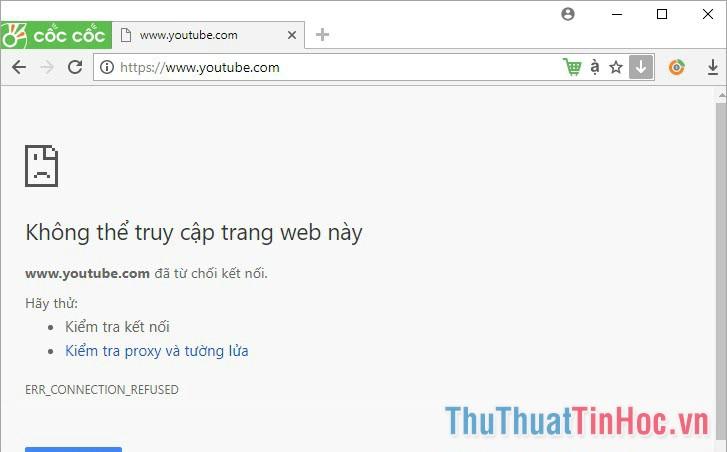 Như vậy trang web cần chặn đã được chặn