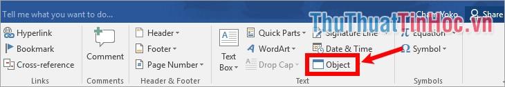 Trên file Word chọn Insert - Object