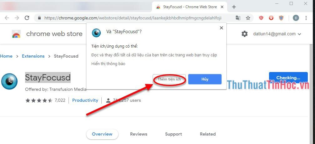 Chọn Thêm tiện ích để tiến hành cài đặt tiện ích vào Chrome