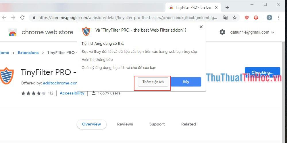 Chọn Thêm tiện ích để TinyFilter Pro tự động thêm vào Chrome