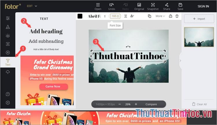 Click chọn biểu tượng text chữ T - Click vào mục Add Heading để thêm chữ