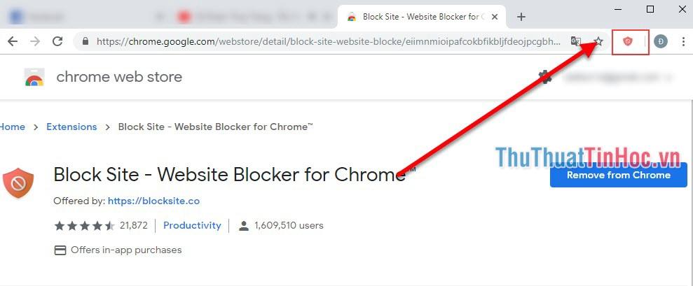 Click vào biểu tượng của Block Site bên tay phải