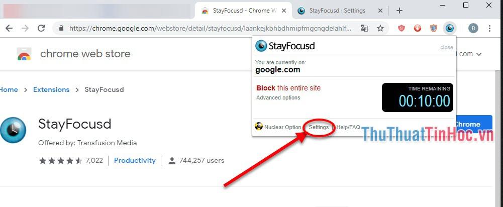 Click vào biểu tượng của StayFocusd và chọn phần Settings
