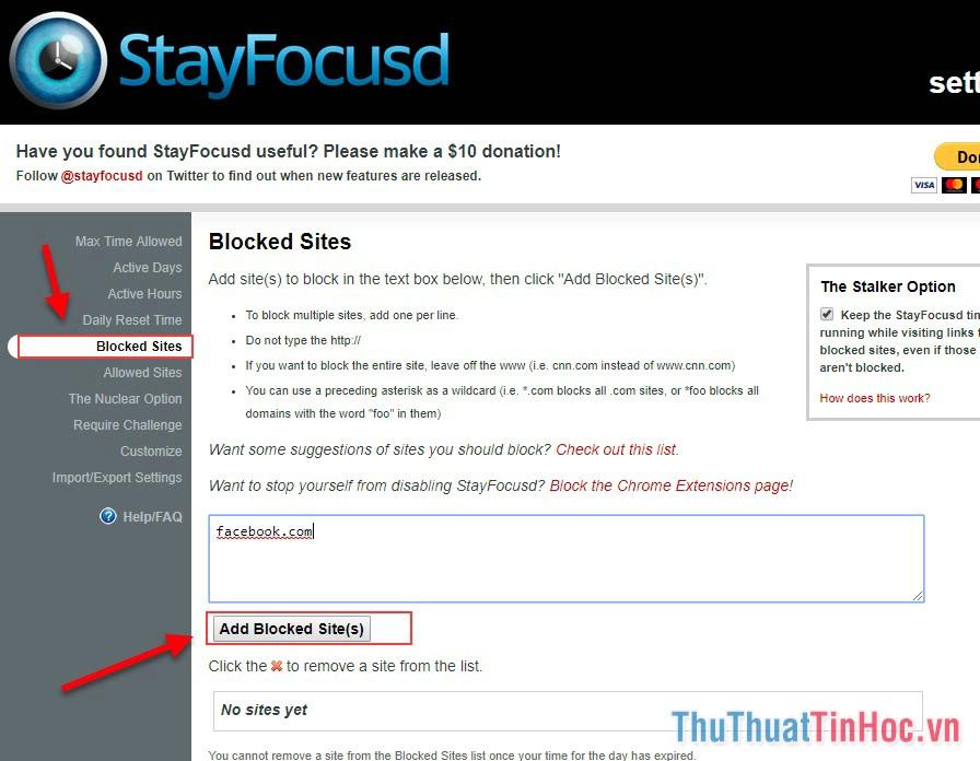 Điền trang web vào ô trống và chọn Add Blocked Sites để tiến hành chặn