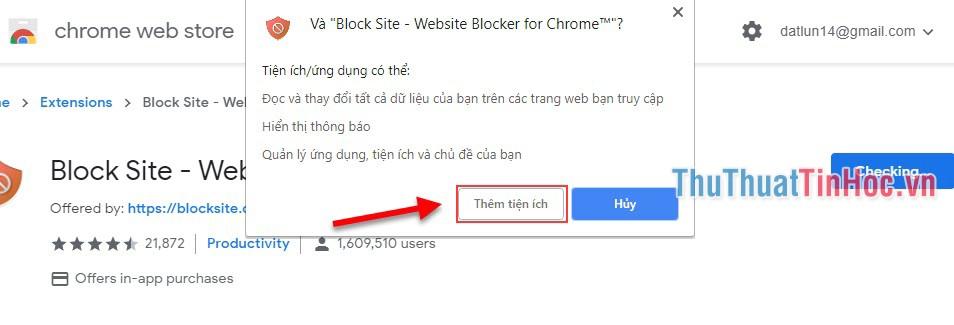 Đồng ý với điều khoản của tiện ích để tiến hành cài tiện ích vào Chrome