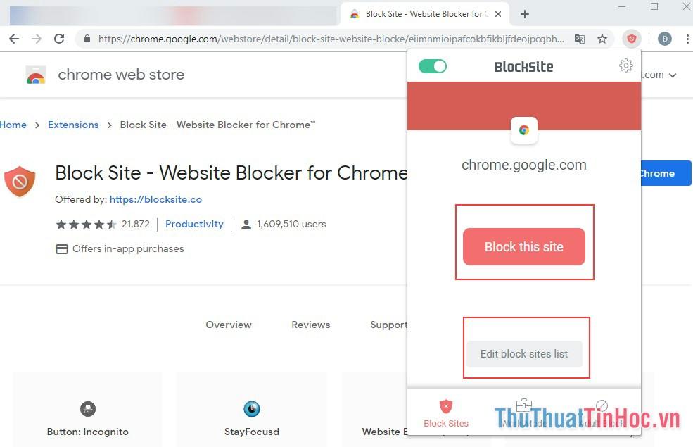 Nhấn vào biểu tượng của Block Site - Có 2 sự lựa chọn