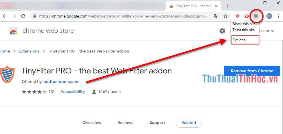Nhấn vào biểu tượng TinyFilter Pro chọn Block this site