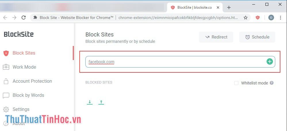 Nhập trang web cần chặn vào ô trống