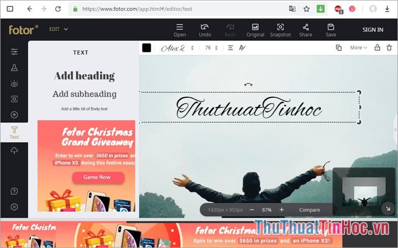 Trang web của Fotor