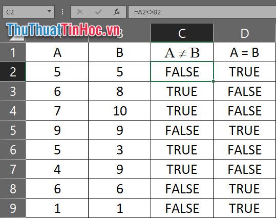 Chèn dấu khác dạng tính toán vào Excel