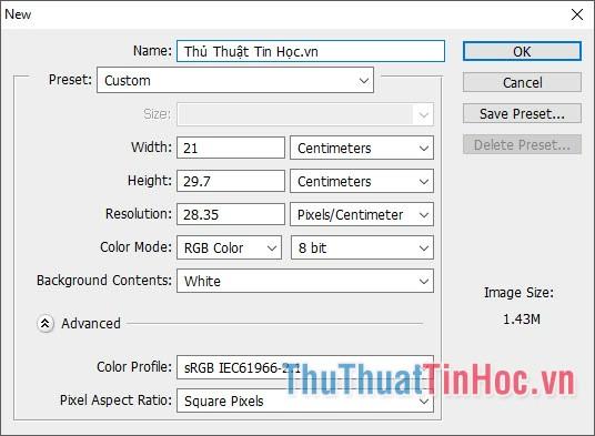 Chọn kích cỡ theo những khổ giấy phù hợp với tài liệu Excel
