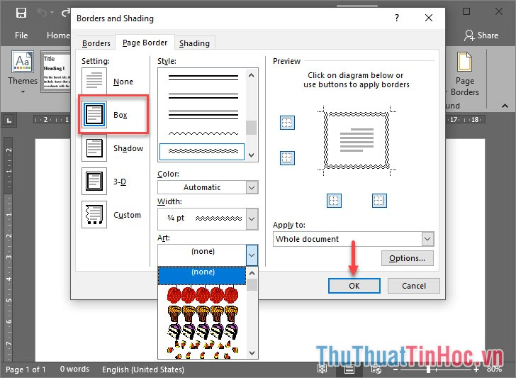 Chọn Setting là Box để tạo viền bao xung quanh trang giấy