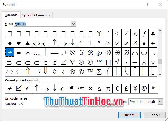 Đổi Font thành Symbol sau đó kéo xuống dưới tìm ký tự dấu khác