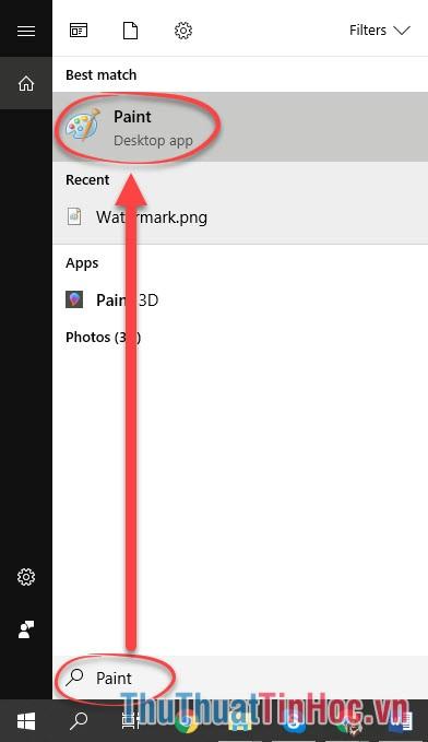 Mở phần mềm Paint của Microsoft lên