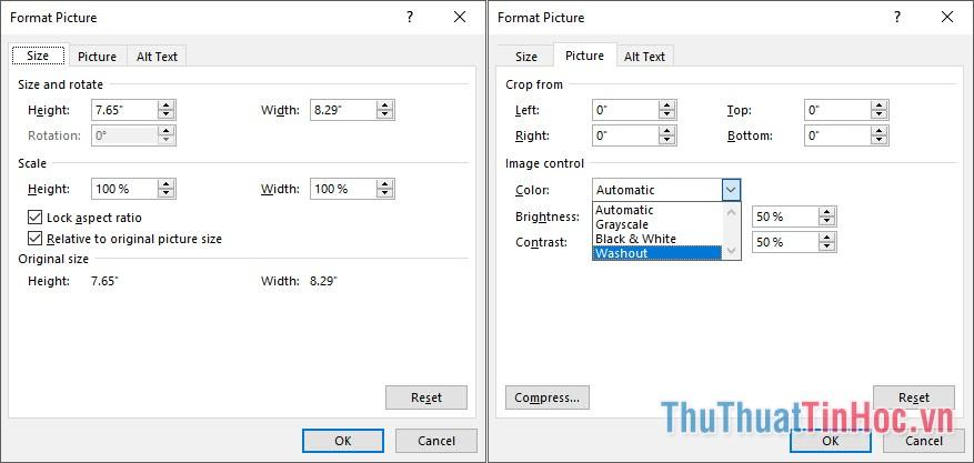 Ở tab Size, chỉnh sửa kích cỡ Wattermark vừa chèn