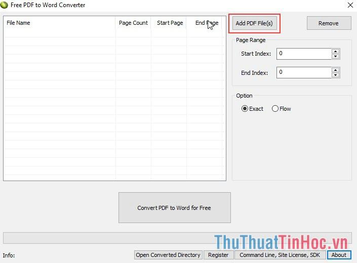 Chọn Add PDF File để chọn tài liệu cần chuyển đổi