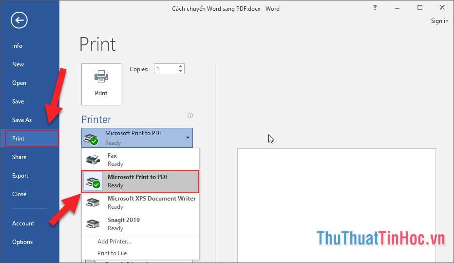 Chọn dòng Print, tiếp tục chọn Microsoft Print to PDF