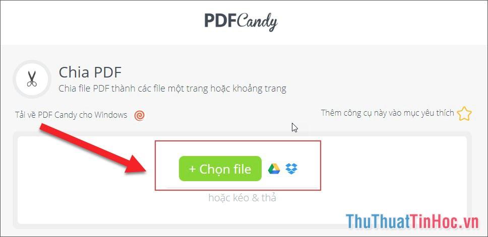 Chọn file từ máy tính, hoặc từ Google Driver, Dropbox