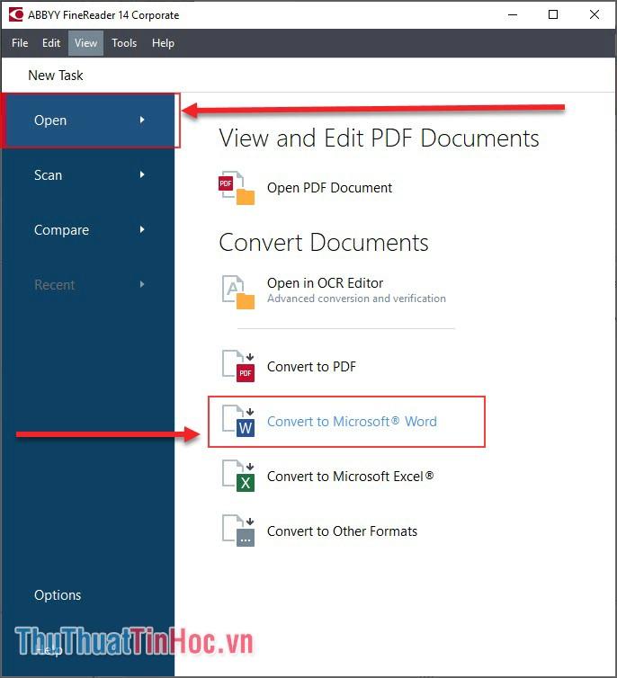 Chọn Open và chọn Convert to Microsoft Word
