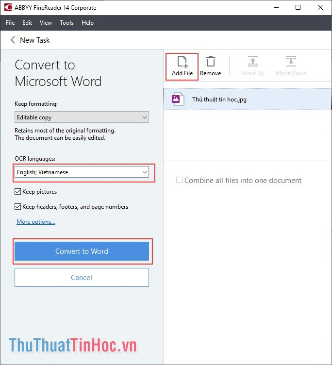 Chọn thêm file hình ảnh cần chuyển qua Word nhấn Add File
