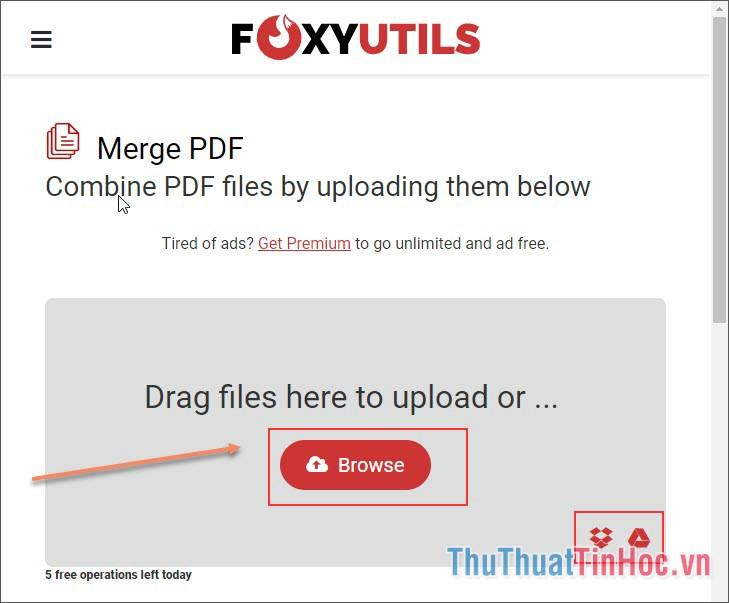 Click vào Browse để mở file PDF từ máy tính