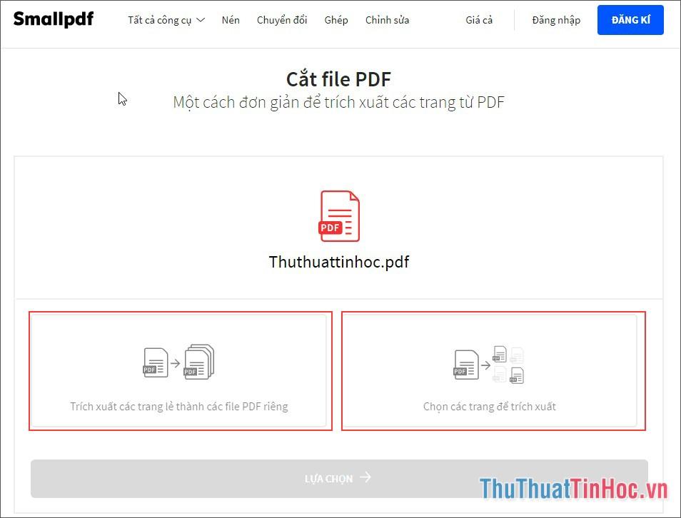 Lựa chọn cách cắt file PDF