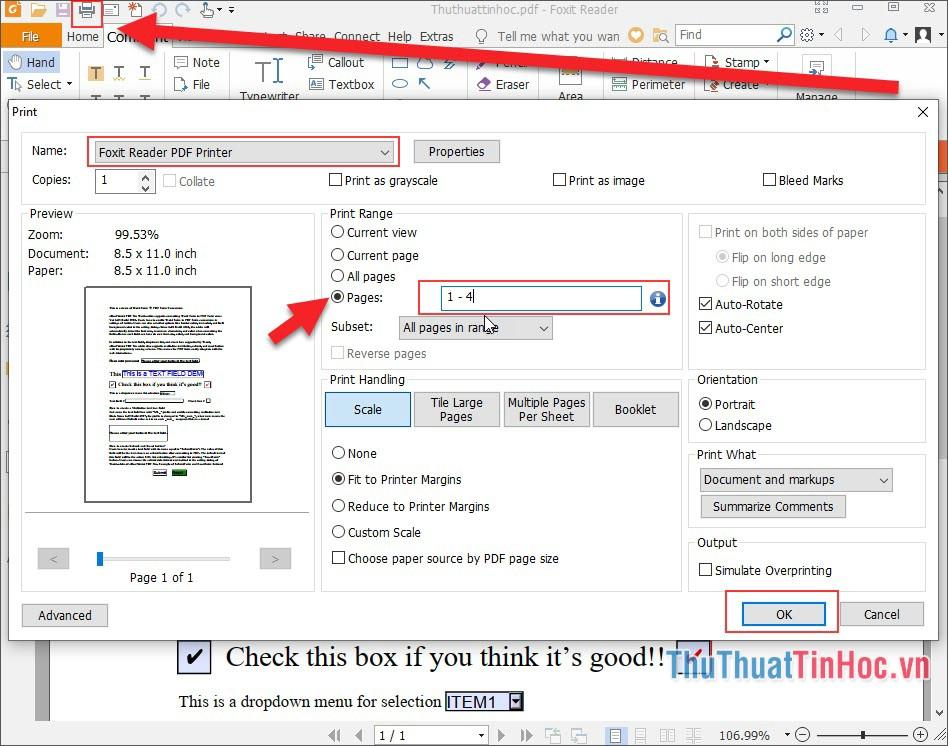 Nhấn Ctrl + P hoặc ấn biểu tượng máy in để tách file PDF