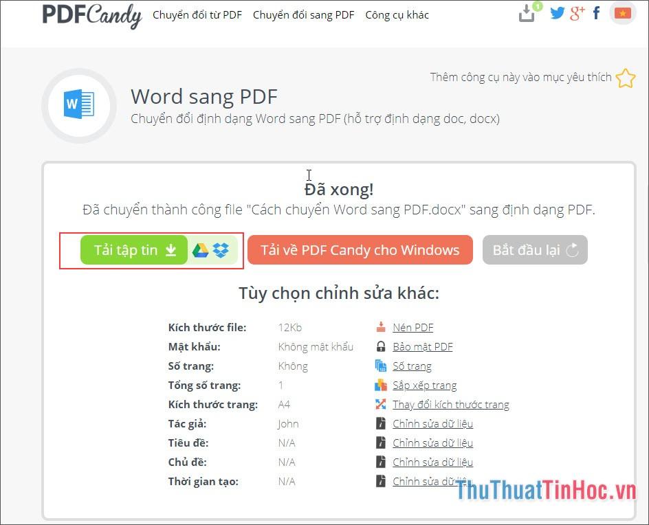 Nhấn Tải tập tin để tải file PDF vừa chuyển đổi về máy và sử dụng