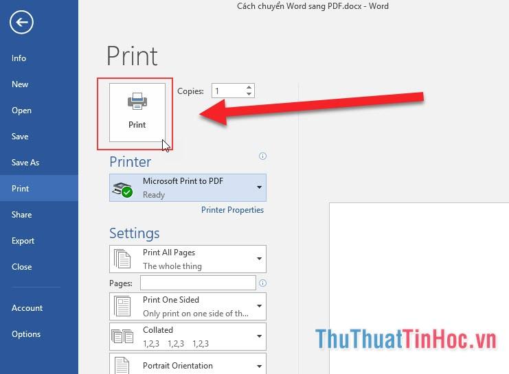 Nhấn vào nút Print để tiến hành chuyển đổi file
