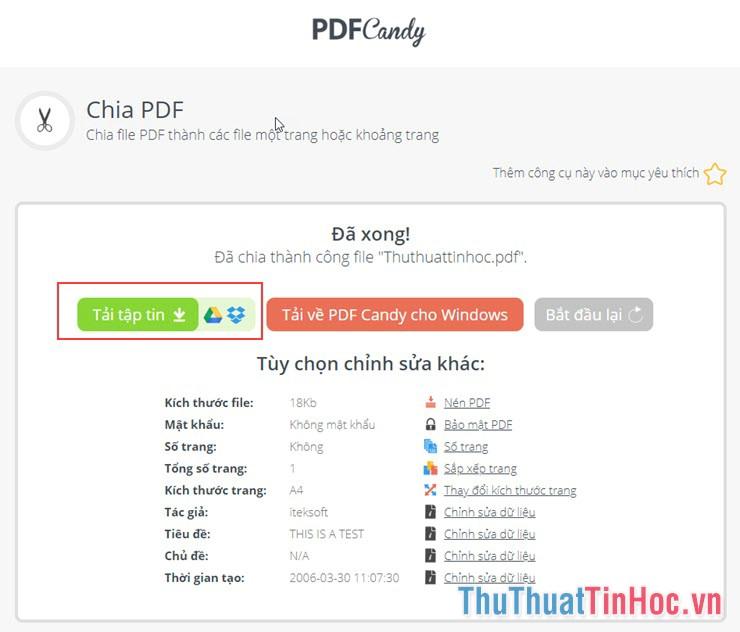 Tải file PDF vừa chia về máy tính