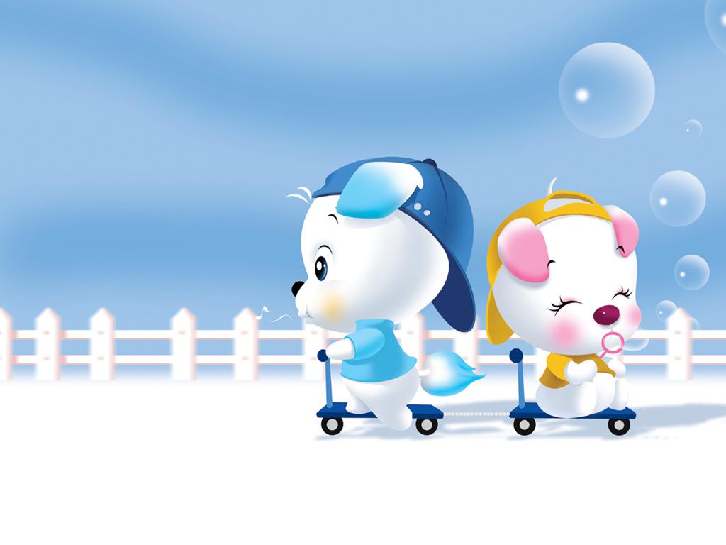 Hình ảnh hoạt hình chó trắng dễ thương