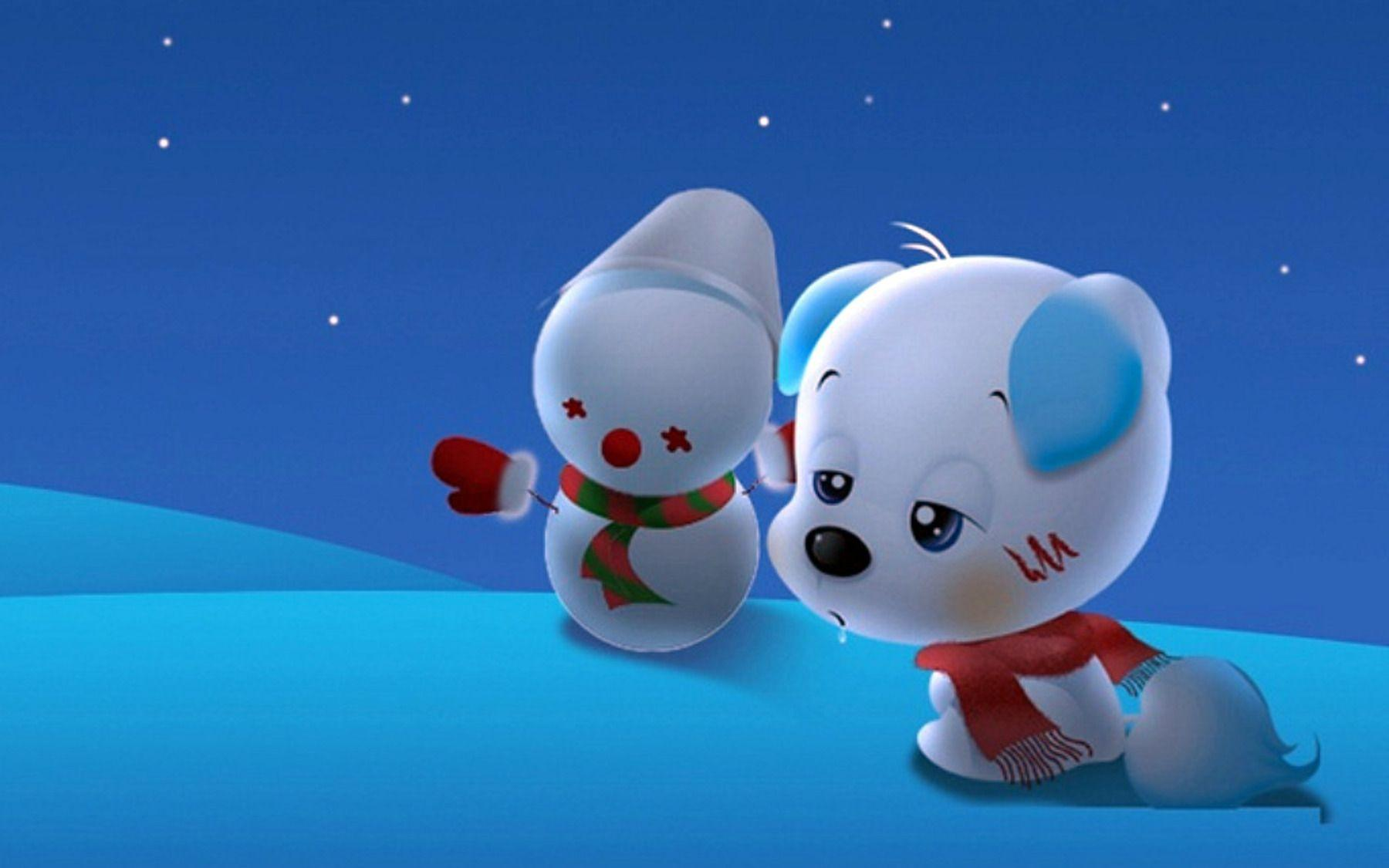 Hình ảnh hoạt hình chú chó tuyết dễ thương