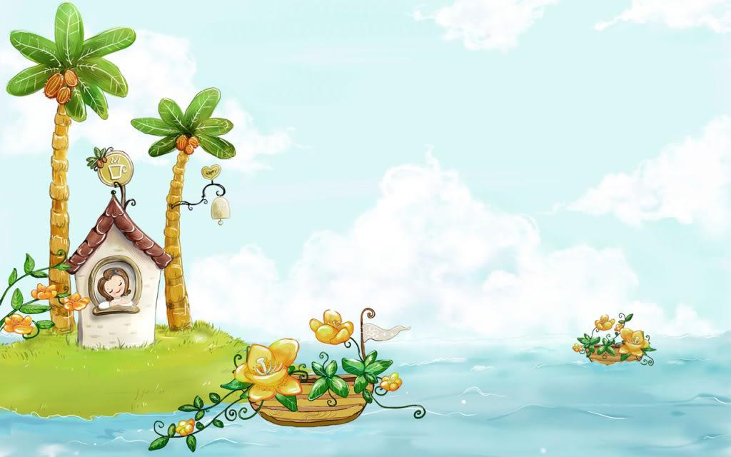 Hình ảnh hoạt hình đảo mộng mơ dễ thương