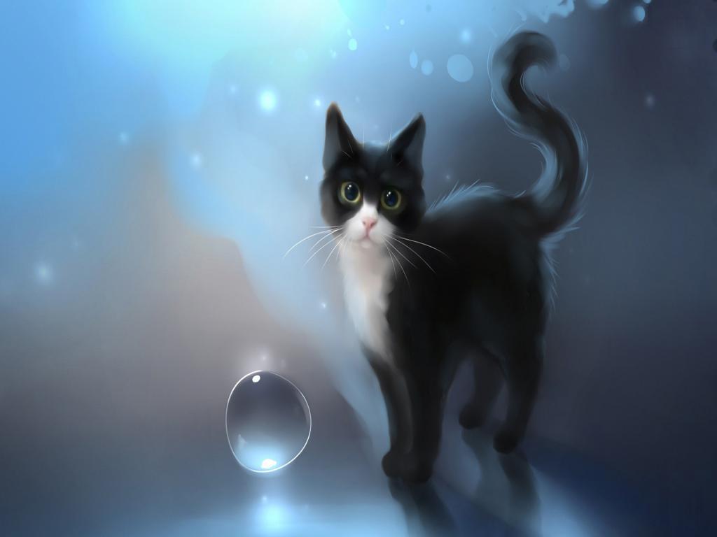 Hình nền 3D mèo đen