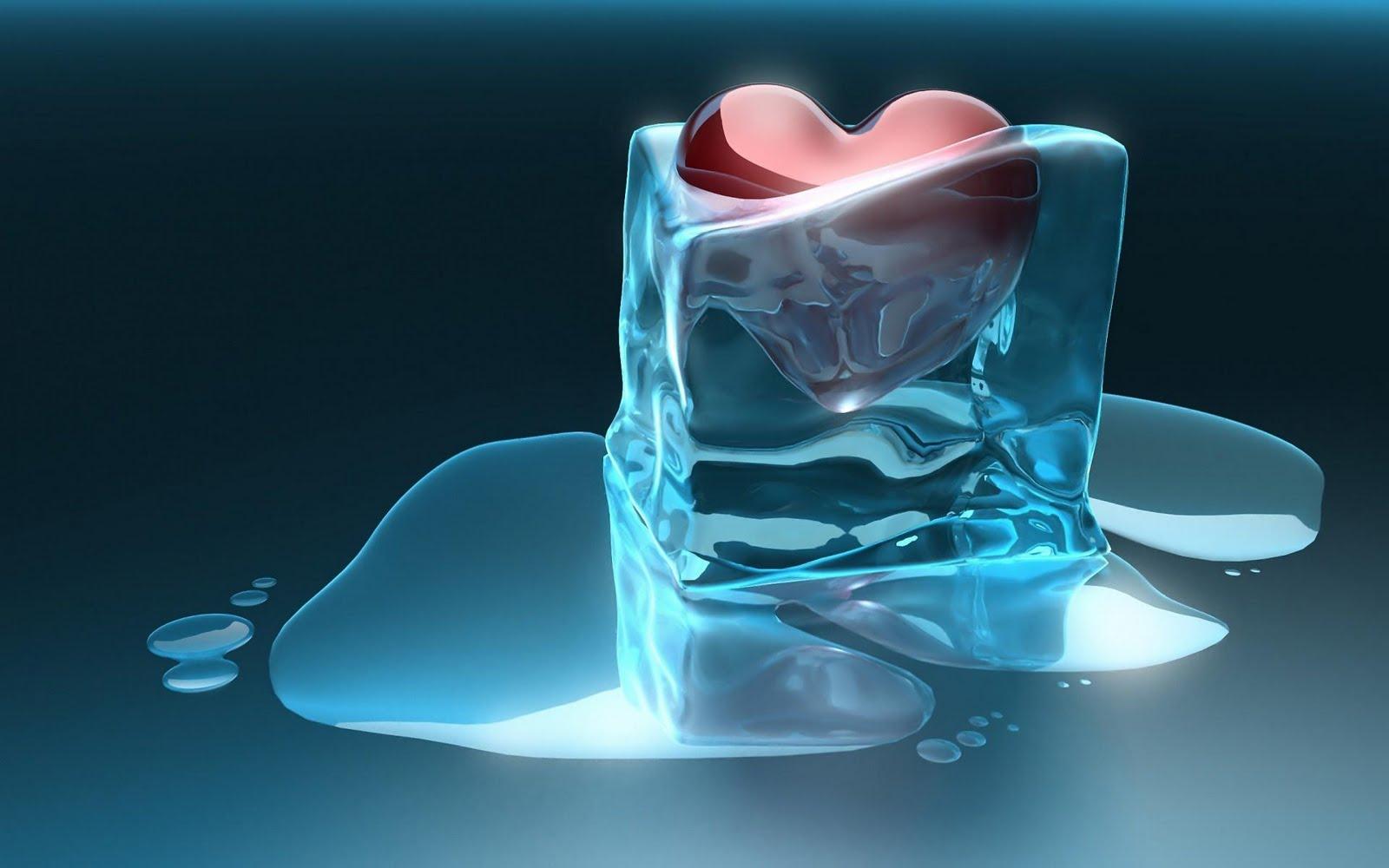 Hình nền trái tim hóa băng 3D