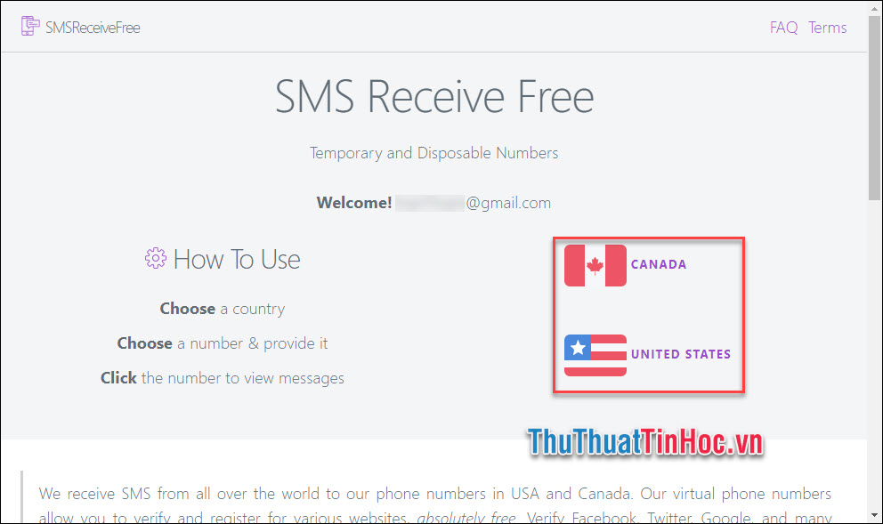 Chọn 1 trong 2 quốc gia được hỗ trợ (Canada và Hoa Kỳ)