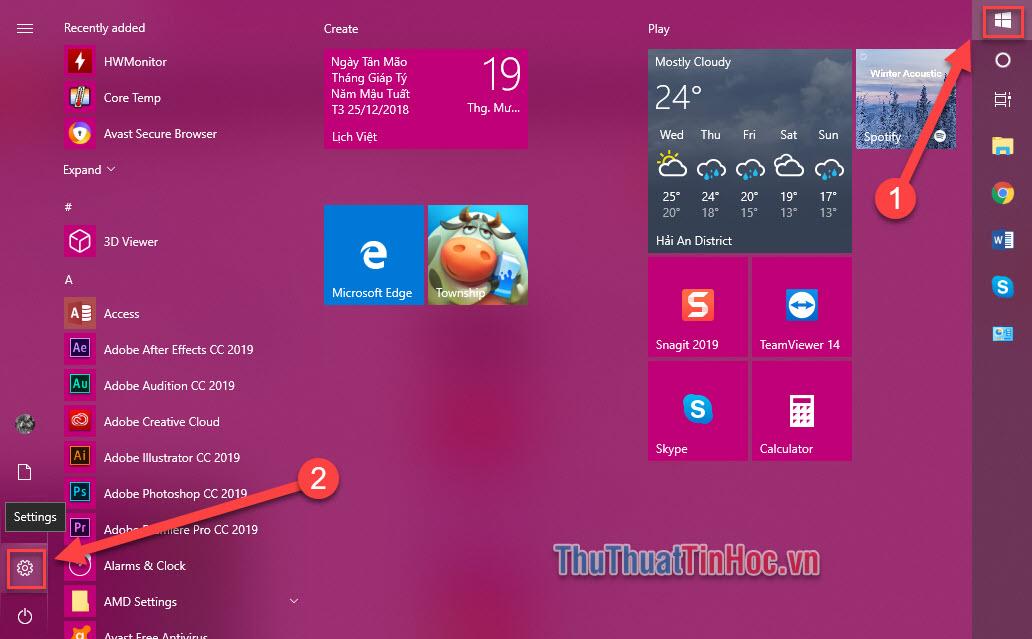 Nhấn biểu tượng Windows ở thanh Taskbar, chọn biểu tượng Setting