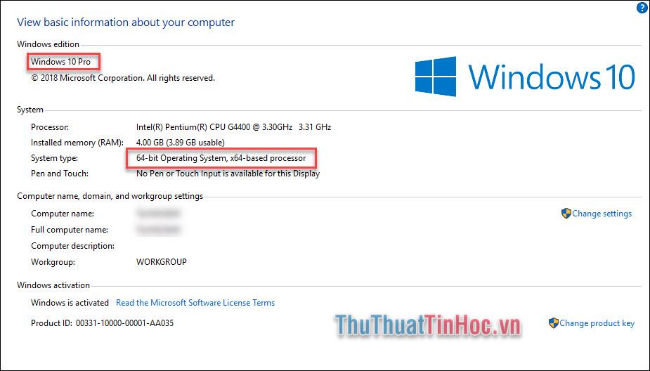 Xem phiên bản Windows của bạn về loại hệ thống 32-bit hay 64-bit