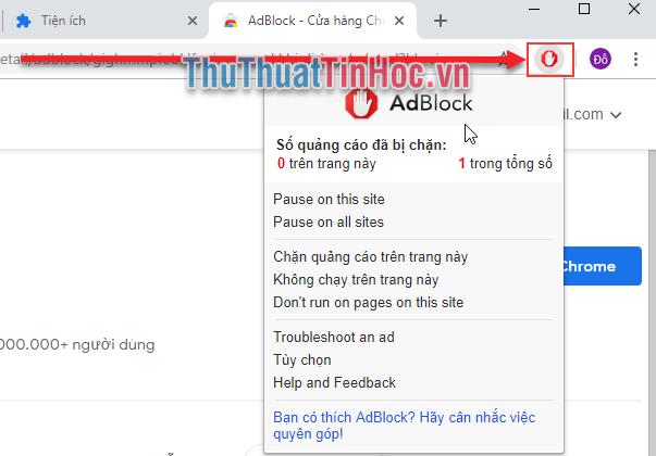 ADBlock đã được cài đặt xong