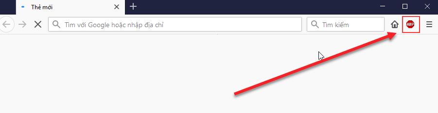 Biểu tượng Adblock Plus nằm trên thanh công cụ của Firefox