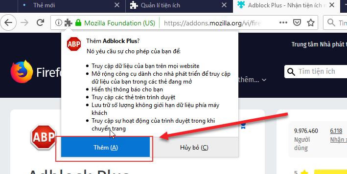 Đồng ý với điều khoản của Adblock Plus rồi tiến hành Thêm