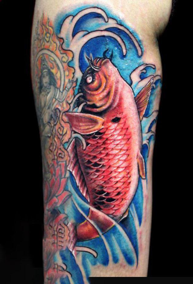 Hình xăm cá chép 3 D siêu đẹp