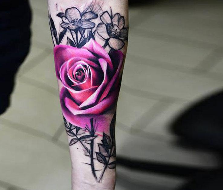 Hình ảnh hình xăm hoa hồng độc đáo nhất dành cho nữ