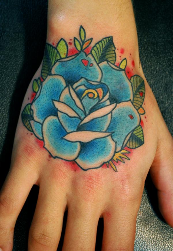 Hình ảnh hình xăm hoa hồng xanh ở ngón tay đẹp nhất