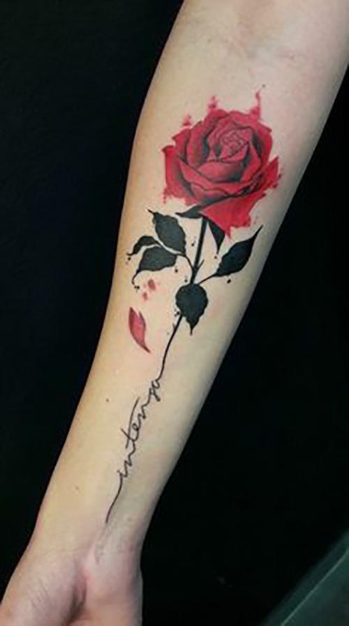 Hình xăm hoa hồng ở cánh tay đẹp nhất cho nữ
