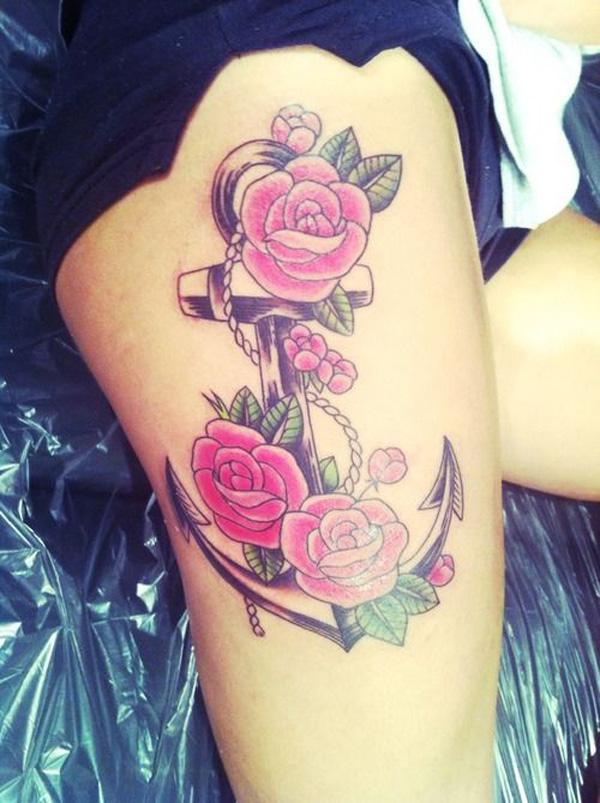 Hình xăm hoa hồng ở đùi đẹp và gợi cảm nhất dành cho nữ